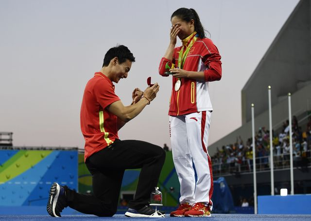 Китайский прыгун вводу сделал предложение обладательнице «серебра» наОлимпиаде